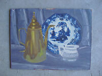 Vintage Alfred Lang Oil Painting Still Life of Teapot Plate and Creamer