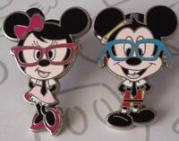 Mickey and Minnie Mouse Nerds Rock in Glasses Collection Booster Disney Pin Set