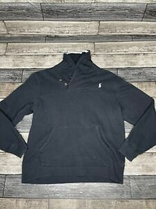 Ralph Lauren Polo Sweater Youth Large Black Gray Pony Pullover Boys Kids