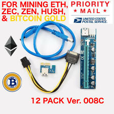 12 X PCI-E Adapter 1X to 16X Ver 008C Mining GPU Riser 6 pin ETH ZEC USA SHIP