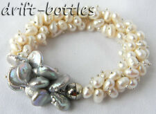 Beautiful White Baroque Gray Coin Freshwater Pearl Bracelet