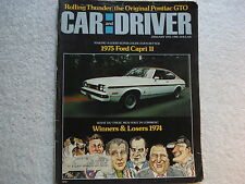 Car and Driver January 1975 Capri 11,Plymouth Road Runner,Mercedes 300D, GTO