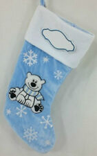 "Large 18"" Christmas Stocking Blue Polar Bear Boys"