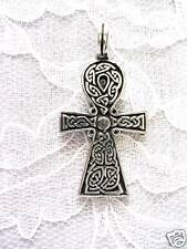 NEW SOLID PEWTER CELTIC SCROLL ANHK PENDANT NECKLACE