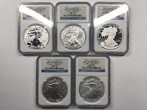 2011 Silver Eagle 25th Anniversary 5-Coin Set - NGC MS70 PF70 - Reverse Proof, +