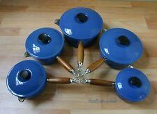 Véritable le creuset cinq Pan Set Bleu Fonte Casseroles Pots casseroles avec couvercles