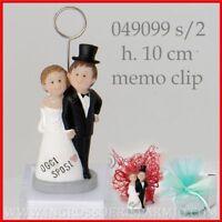 Bomboniere segnaposto matrimonio nozze statuine coppia sposi memoclip ingrosso