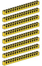 LEGO Technic 8 pcs XL YELLOW BRICK BEAM 1x16 WITH HOLES 16 studs long Part 3703