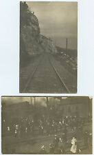 Railroad Tracks & Train Station Depot People - Tiny Men on Hill Real Photo Rppc