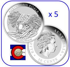 2014  Australia Koala 1/10 oz. Silver Coin in display card Perth Mint x5 coins