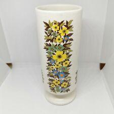 Vintage cylinder Floral Retro Vase. Mid Century Modern Lines. England. Bold.