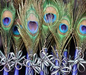 12Peacock Feather Pen For Party,Sweet16,Bridal S,GIft,Weddin Supplies,Recuerdos