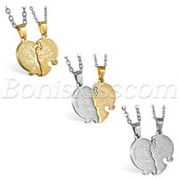 Couple Stainless Steel Love you Heart Puzzle Tree of Life Pendant Necklace Chain