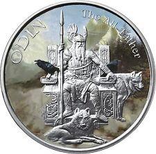 1 OZ ODIN COLORIZED .999 Silver w/ COA VALKYRIE NORSE GODS SERIES #1 VIKING