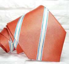Regimental arancione Cravatta seta  Nuova seta Made in Italy handmade Morgana