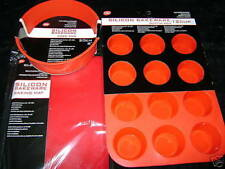 NEW SILICONE CAKE BAKING 3 SET MOULD MAT ROUND SPONGE & MUFFIN. RED