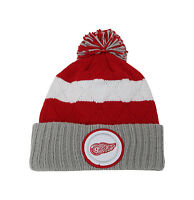 Mitchell & Ness NHL Beanie Detroit Red Wings Stripped Quilted Crown Pom Knit Hat
