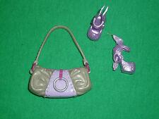 Barbie Size Lilac & Silver Handbag and Modern Lilac Clone Shoes