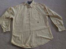mens L Large 6/6 Tommy Hilfiger 100% cotton long sleeve button down shirt yellow