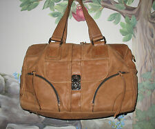 RARE Authentic CHLOE Cognac Tan Calf Leather Weekender Satchel Travel Bag