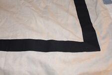 "2 panel Pottery Barn stripe border 50"" x 63"" Drape curtain cotton linen blend"