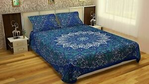 Boho Duvet Covers Indian Blue Star Printed Quilt Cover Bedding Sets Throw Decor