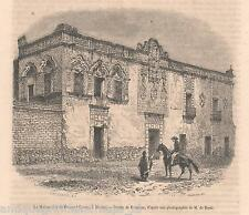 Antique print house Fernand Cortez  Mexico 1860 Fernando