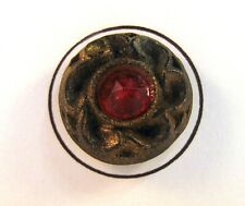 Medium Vintage Processed Wood Button ANN with Red Cabochon