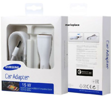 Samsung 15W USB Auto Quick Charger + Micro USB 3.0 Cable White NEW