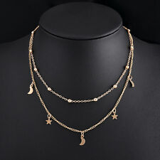 Fashion Lady Moon Star Jewelry Pendant Gold Silver Chain Choker Necklace cn