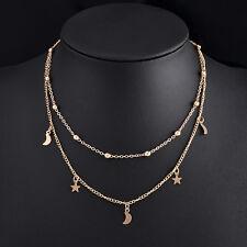 Fashion Women Charm Moon Star Jewelry Pendant Gold Silver Chain Choker Necklace