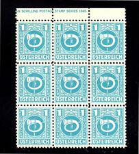 AUSTRIA #4N1     1945 1g A.M.G   MINT  VF LH  O.G BLOCK OF 9  e