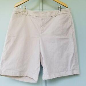Dockers Womens Flat Front Khaki Bermuda Stretchy Shorts Pockets Plus Size 18W