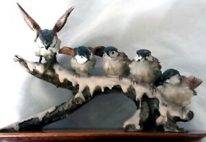 GIUSEPPE ARMANI FIVE SPARROWS/BIRDS ON A BRANCH - SIGNED