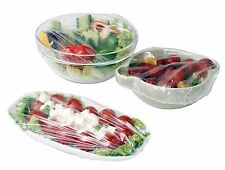 10 x Plate Clear Food Covers Keep Party Fresh BBQ Wrap Net Clingfilm Elastic