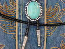 NEW TURQUOISE COLOUR BOLO BOOTLACE TIE LEATHER CORD SILVER METAL WESTERN,COWBOY