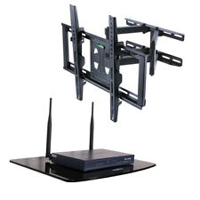 "TV Wall Mounted Bracket 22"" - 55"" with Glass Floating DVD Sky Xbox Support Shelf"