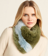 CHARLOTTE SIMONE Faux Fur Green & Blue Bandit Fur Collar *NEW WITH TAG*
