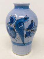 "Vintage Tonala Hand Painted Blue Bird Flowers Vase Mexican Pottery 6.25"""