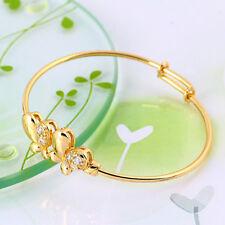 "9ct 9k Yellow ""Gold Filled"" Girls ,Toddler Butterfly Bangle Bracelet. 47mm Gift"