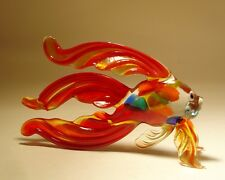 Blown Glass Figurine Art Red Betta FISH with Speckled Body