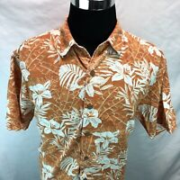 Reyn Spooner Orange Floral Hibiscus Button Up Hawaiian Aloha Shirt XL PP5