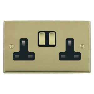 Hamilton Cheriton Victorian Polished Brass 2 Gang 13A Switched Socket 92SS2PB-B