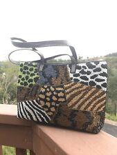 VINTAGE FENDI Animal Beaded Tote Bag with Snake Skin Strap