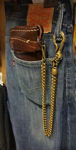Handmade Bronze Brass Wallet Chain With Skull Hook Snake Box Chain Solid Brass