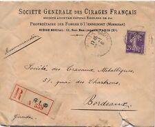Lettre Semeuse 35cts Perforé CF Cirages Français Perfin  Cover Brief