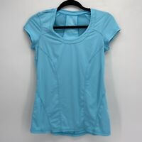 Zella Vivid Blue Short Sleeve Cooling Mesh Panel Scoop Neck Sunny Run Top Small