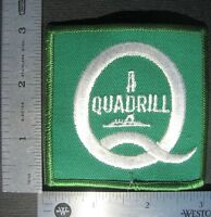 "QUADRILL OIL EMBROIDERED SEW ON  PATCH RIG COMPANY ADVERTISING  3"" SQUARE"