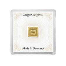 Geiger Original Lingotes de Oro 1 Gramo Oro Bar 999 Cuadrada en Cápsula