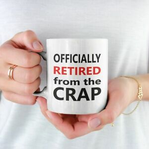 OFFICIALLY RETIRED FROM THE CRAP PRINTED MUG COASTER RETIREMENT FREE P&P